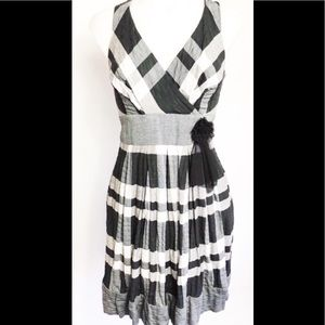 Eva Franco Anthropologie black white gingham dress